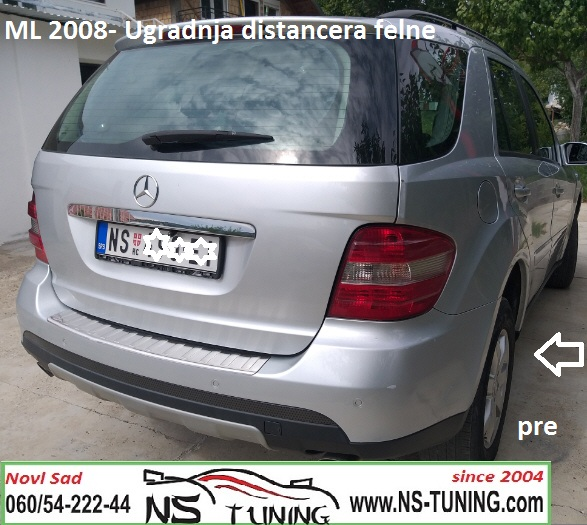 mercedes ml w164 2008 2009 godiste ugradnja distanceri felne 5x112 66.6 20mm novi sad beograd ns tuning